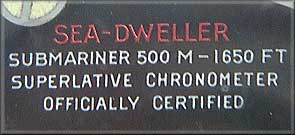 Sea-Dweller - 'Officially Certified' plate.
